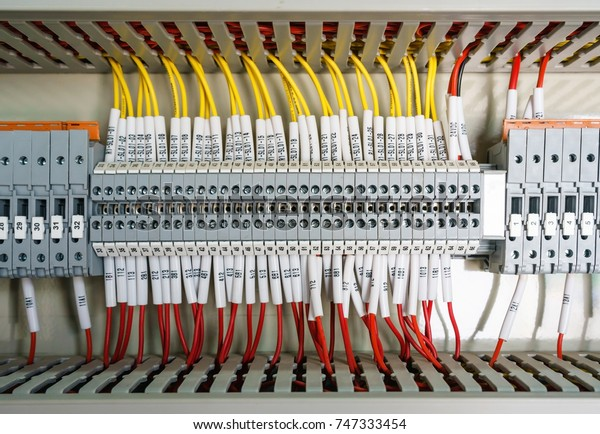 Wiring Plc Control Panel Wires Industrial Technology Stock Image 747333454
