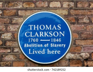 WISBECH, CAMBRIDGESHIRE, UK - APRIL 11 2016: Plaque to commemerate Thomas Clarkson - Slave Abolisionist
