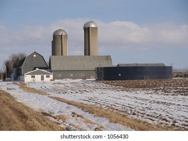 Wisconsin dairy farm with gray barn