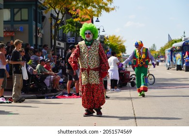Wisconsin Dells, Wisconsin USA - September 19th, 2021: Clowns from ZOR Funsters danced and partied around entertaining the spectators at Wa Zha Wa fall festival parade.