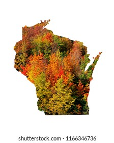 Wisconsin Fall colors on outline of the state. Orange, green and bright yellow.