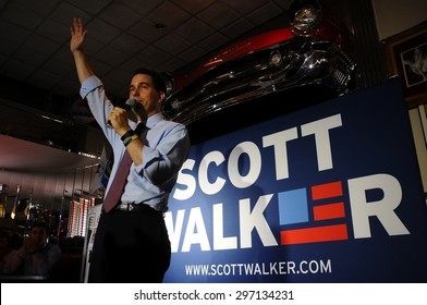 Wisconsin Governor Scott Walker speaks at Joey's Diner in Amherst, New Hampshire, on July 16, 2015.