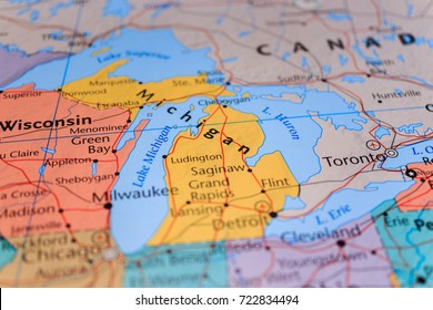 wisconsin michigan on the map