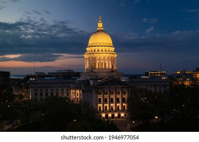 The Wisconsin State Capitol building just after sunset. Construction was completed in 1917. The dome stands 284.4 feet high.