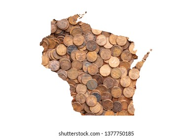 Wisconsin State Map and Money Concept, Piles of Coins, Pennies
