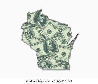 Wisconsin WI Money Map Cash Economy Dollars 3d Illustration