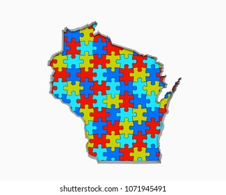 Wisconsin WI Puzzle Pieces Map Working Together 3d Illustration