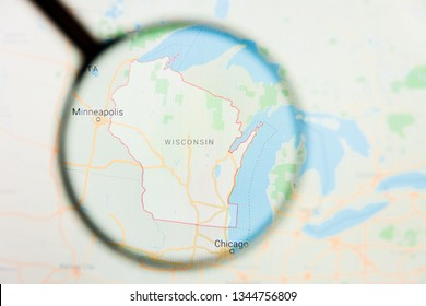 Wisconsin, WI state of America visualization illustrative concept on display screen through magnifying glass