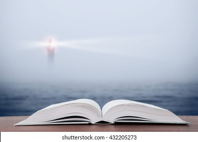 Wisdom concept - open book over sea and lighthouse background