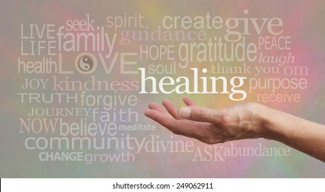 Wise Healing Words - Healer's outstretched open hand with the word 'healing' floating above, surrounded by wise healing words on a pastel colored background