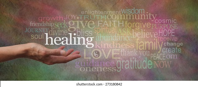 Wise Healing Words Parchment Website Header - wide softly colored stone effect banner with a female hand facing upwards surrounded by a word cloud relative to healing