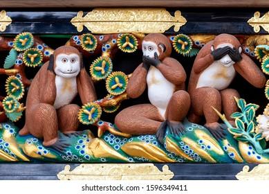 Wise monkeys at Toshogu shrine in Nikko. Japan - Shutterstock ID 1596349411