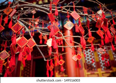 wish cards in a Buddhist temple in Beijing, China