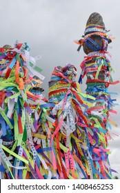 Wish ribbons of Bonfim church in Salvador Bahia on Brazil