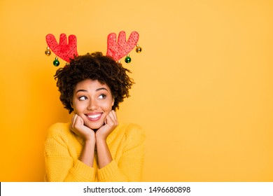 I wish I was Santa Claus helper concept. Close up photo portrait of cheerful charming positive lady wearing red costume trendy mask on head planning future on North Pole isolated yellow background