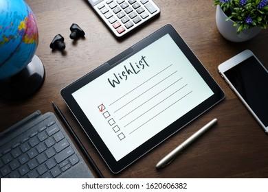 Wishlist write on PC tablet