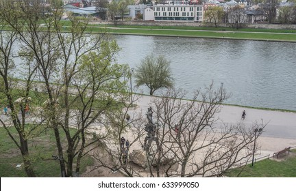 Wisla (Vistula) river-April 12, 2017: Longest & largest river in Poland, as viewed from the southern fortification wall of Wawel Royal Castle on Wawel Hill, Krakow, Poland