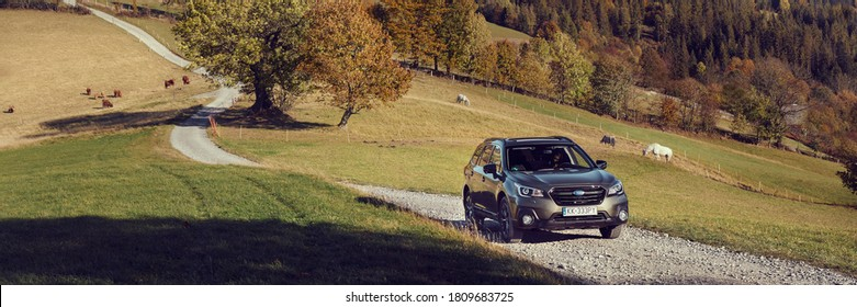 Wisla/Poland - 10.13.2019: Subaru Outback with permanent all-wheel drive on the mountain roads. Model 2019, 175 hp engine