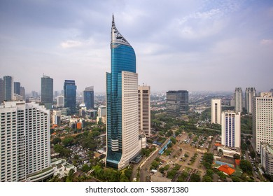 Wisma 46 is the tallest building in Indonesia. A 250 m tall skyscraper located in the Kota BNI-Maybank complex in Central Jakarta, Indonesia. It was completed in 1996. Date taken 14 November 2014.