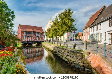 WISMAR, DE - SEPTEMBER 14, 2017:  Vault located close to the Old Port as seen form the round pit in Wismar, Nordwestmecklenburg district, Mecklenburg-Vorpommern state, northern Germany.