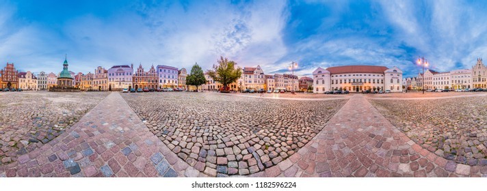 WISMAR, DE - SEPTEMBER 14, 2017:  The Market Square in Wismar is one of the main places of interest in Nordwestmecklenburg district, Mecklenburg-Vorpommern state, northern Germany.