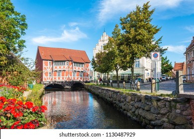 WISMAR, DE - SEPTEMBER 15, 2017:  Vault located close to the Old Port as seen form the round pit in Wismar, Nordwestmecklenburg district, Mecklenburg-Vorpommern state, northern Germany.