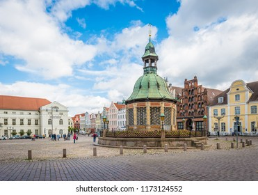 WISMAR, DE - SEPTEMBER 15, 2017:  The Market Square in Wismar is one of the main places of interest in Nordwestmecklenburg district, Mecklenburg-Vorpommern state, northern Germany.