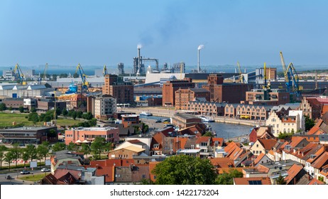 Wismar, Germany. Aerial view of the harbor.