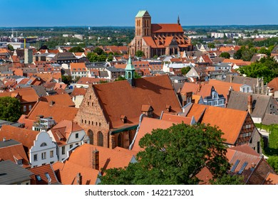 Wismar, Germany. Aerial view of the old town.