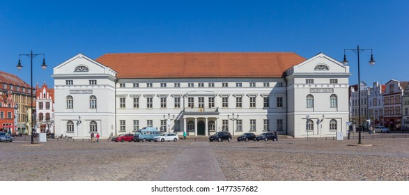 WISMAR, GERMANY - APRIL 19, 2019: Panorama of the historic town hall of Wismar, Germany