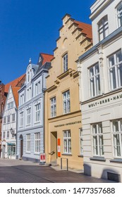 WISMAR, GERMANY - APRIL 19, 2019: Street with old houses in historic city Wismar, Germany