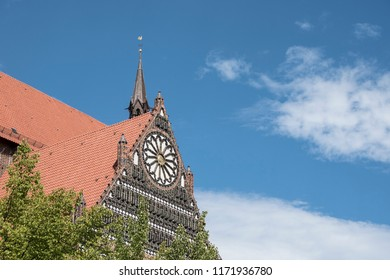 Wismar, Germany, August 20th, 2018: Architecture detail of ancient gothic St. George Cathedral Church in Wismar