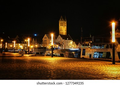 Wismar, Germany - December 25, 2017: Harbor at the Baltic Sea at night.