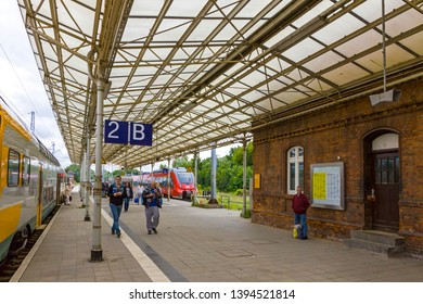 Wismar, Germany - June 24, 2014: Platform B of Wismar Railway Station in the town of Wismar, Mecklenburg-Vorpommern, Germany. Station was opened in 1848. Train services are operated by Deutsche Bahn