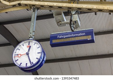 Wismar, Germany - June 24, 2014: Railway clock with a logo of German railway company, Deutsche Bahn, over the platform of Wismar Railway Station, Mecklenburg-Vorpommern, Germany
