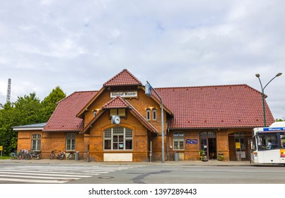 Wismar, Germany - June 24, 2014: Building of Wismar Railway Station in the town of Wismar, Mecklenburg-Vorpommern, Germany. The Station was opened in 1848. Train services are operated by Deutsche Bahn