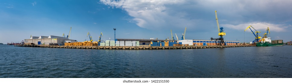 Wismar, Germany - June 5, 2019: Panoramic view of the harbor.