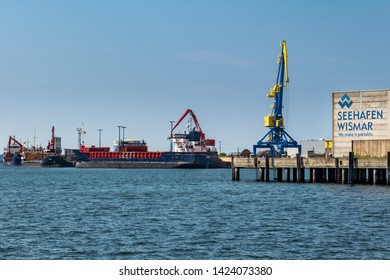 Wismar, Germany - June 5, 2019: View of the sea harbor with docks.