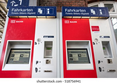 WISMAR, GERMANY - November 9, 2016: DB ticket machines. Deutsche Bahn AG is the largest railway operator and infrastructure owner in Europe. It carries about two billion passengers each year.