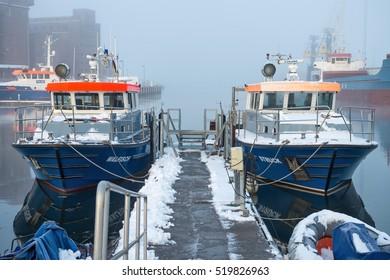 WISMAR, GERMANY - November 9, 2016:  police patrol boats in the port of Wismar.