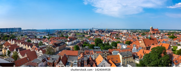 Wismar, Germany. Panoramic aerial view of the old town.