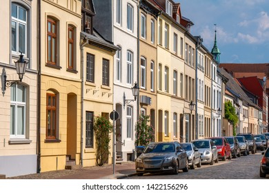 Wismar, Germany. Street in the historic town center.