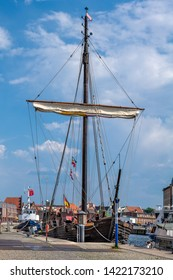 Wismar, Germany. View of the old harbor with historic sail ship.