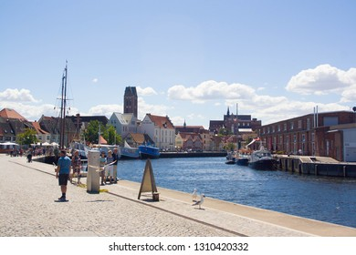 Wismar, Germany-July, 14, 2018: View to the picturesque harbor of Wismat, towm of medieval Hanse Union. Wismar is famous for its port, shipbuilding and fishing industry