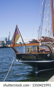 Wismar, Germany-July,14,2018: Aft of the medieval ship with german flag in a port of Wismar, a famouse town of medieval Hanse Union.