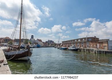 Wismar - Old Harbor Of Wismar With Boats, Mecklenburg-Vorpommern, Germany, Wismar 04.08.2018