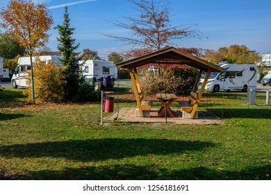 WISMAR/GERMANY - OCTOBER 2018: Caravans and camping vehicles on a camping site in the city of Wismar during sunny weather.