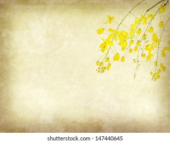 Wisteria painted on old paper grunge background