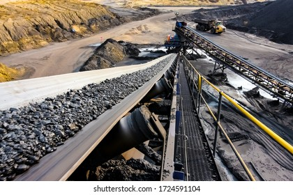 Witbank, South Africa - July 25 2011: Coal Ore on a conveyor belt for processing