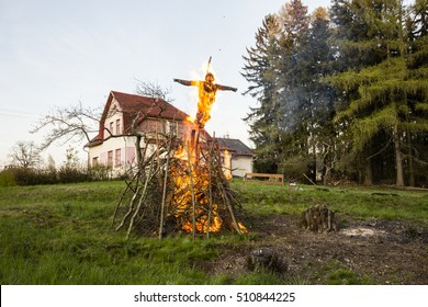 Witch Burning in flames with house bacground and tree forest